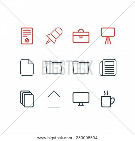 illustration of 12 bureau icons line style. Editable set of presentation, blank, newspaper and other icon elements. poster
