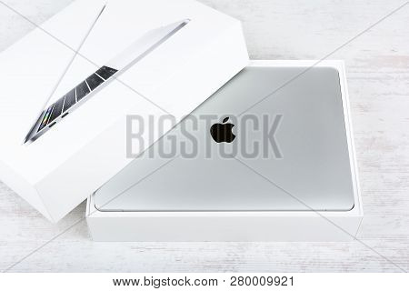 Burgas, Bulgaria - August 31, 2017: Macbook Pro Retina Display With Touch Bar And A Touch Id Sensor