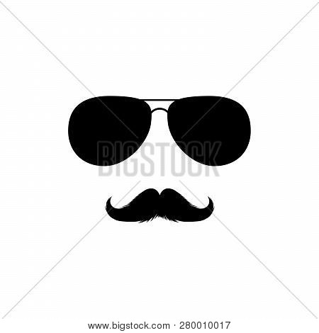 Moustaches And Sunglasses Mans Face Clipart. Black Fashion Sunglasses Isolated Vector Clipart. Silho