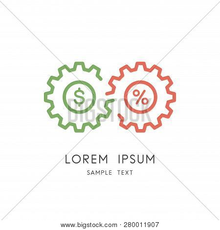 Business And Finance Logo - Couple Of Gear Wheels With Percent Sign And Dollar Symbol. Money And Inv