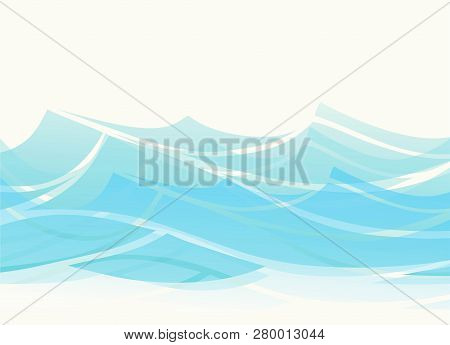 Blue Water Sea Waves Abstract Vector Background. Water Wave Curve Background, Ocean Banner Illustrat