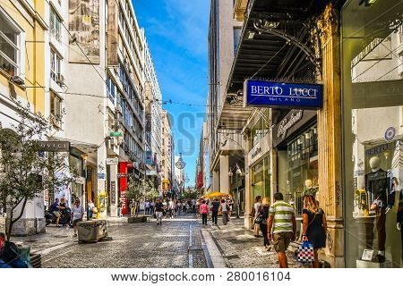 Athens, Greece - September 17 2018: Tourists And Local Greeks Shop The Pedestrian Ernou St In The Ci