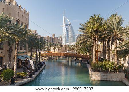 Dubai, Uae - January, 6, 2019: Madinat Jumeirah In Dubai And Burj Al Arab Jumeirah
