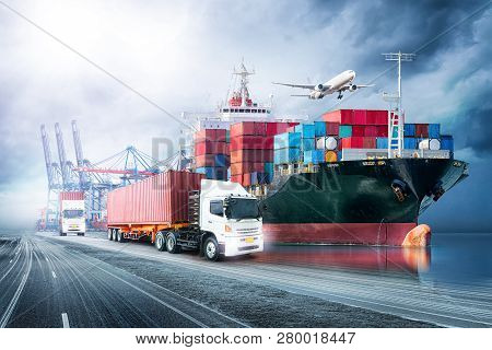 Logistics Import Export Background And Transport Industry Of Container Cargo Freight Ship At Sunset