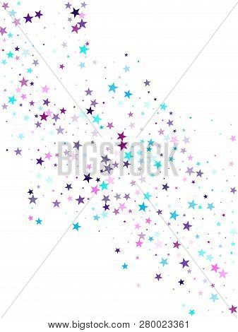 Flying Stars Confetti Holiday Vector In Cyan Blue Violet On White. Fairytale Magic Card Backdrop. Cu