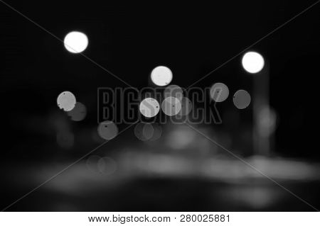Lights Of Mostecka Street In Czech City Of Chomutov  In Rainy Evening On 15Th January 2019