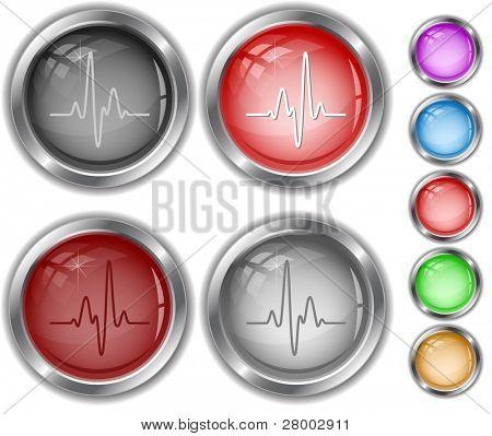 Cardiogram. Raster internet buttons. Vector version is in portfolio.