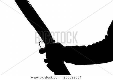 Silhouette Of A Hunting Double-barreled Rifle On A White Background. Bockflint In Human Hand In Glov