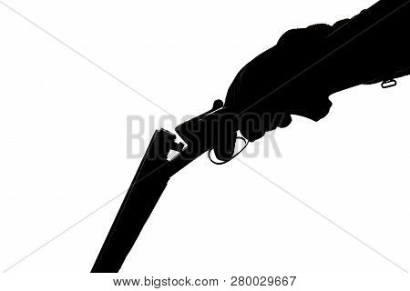 Silhouette Of A Hunting Double-barreled Gun On A White Background. Shootgun In Human Hand In Glove.