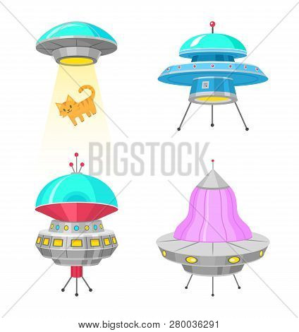 Alien Spaceships, Set Of Ufo Unidentified Flying Object, Fantastic Rockets, Cosmic Spacecrafts In Un