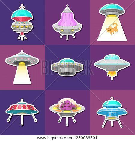 Set Of Ufo Stickers. Alien Spaceships, Unidentified Flying Object, Fantastic Rockets, Cosmic Spacecr