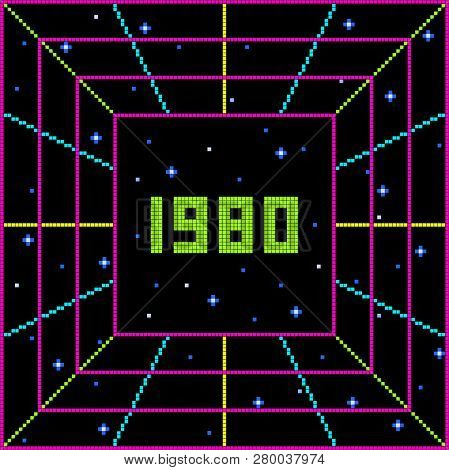 Pixel 1980 Retro Message. Layered File. Each Pixel Is Left As A Vector Square For Any Amends