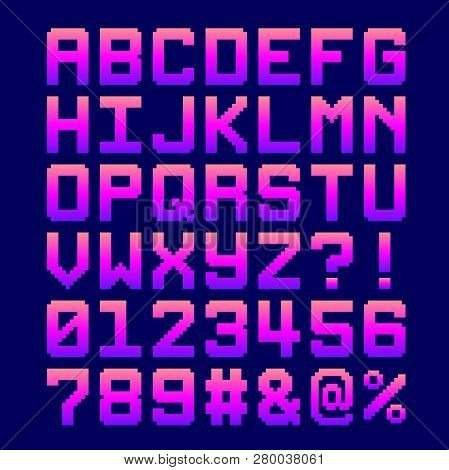 8-bit Pixel Font - Letter And Numbers In A Pink Gradient. Eps8 Vector. Letters Are Formed Out Of Com
