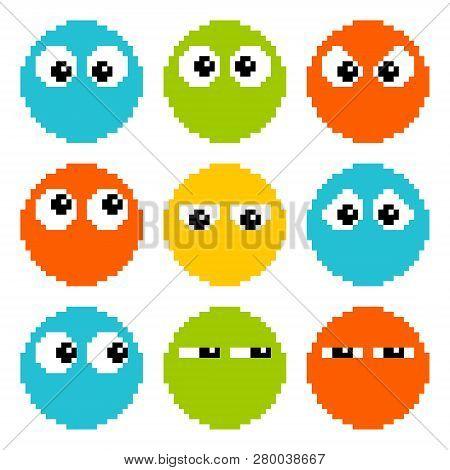 8-bit Pixel Eyes On Circle Characters, Eps8 Vector