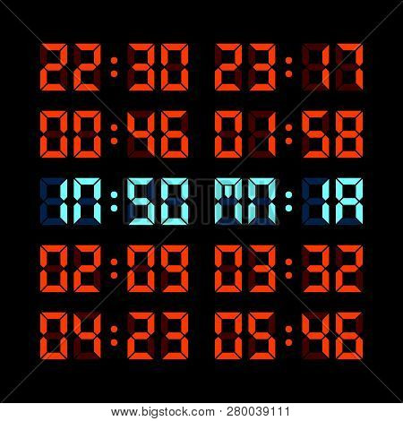 Digital Clock Insomnia Concept With Various Clock Times. Eps8 Vector