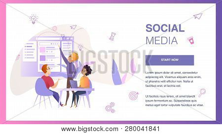 Social Media Interface Wireframe Develop Banner. Marketing Team Character Create Project Web Interfa