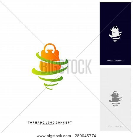 Shopping Logo Design Concept Vector. Storm Sale Logo Vector. Shop Twist. Tornado Sale Icon