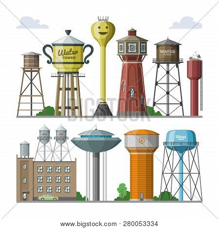 Water Tower Vector Tank Storage Watery Resource Reservoir And Industrial High Metal Structure Contai