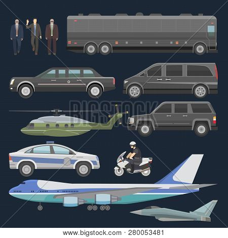 Government Car Vector Presidential Auto Plane And Luxury Business Transportation With Police Car Ill
