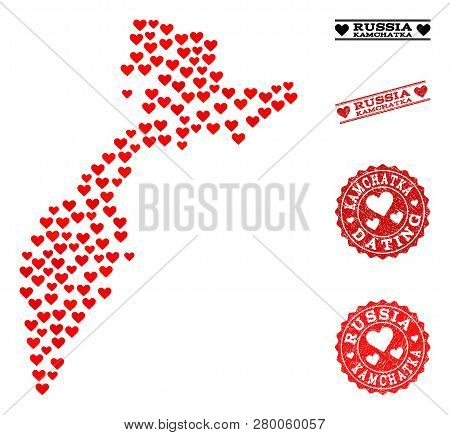 Collage Map Of Kamchatka Peninsula Formed With Red Love Hearts, And Rubber Watermarks For Dating. Ve