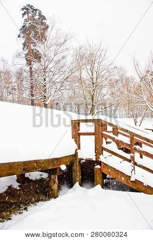 Staircase Under Snow In A Park In Winter