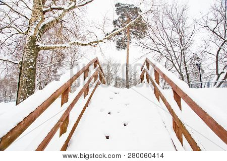 Staircase Under Snow In The Park In Winter