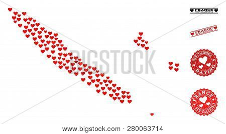Collage Map Of New Caledonia Formed With Red Love Hearts, And Rubber Watermarks For Dating. Vector L