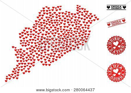 Mosaic Map Of Odisha State Created With Red Love Hearts, And Rubber Stamp Seals For Dating. Vector L