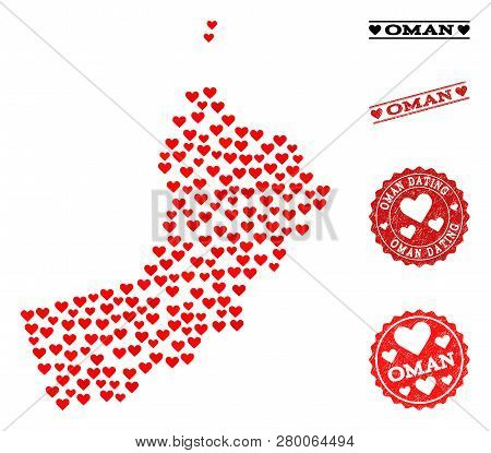 Mosaic Map Of Oman Formed With Red Love Hearts, And Rubber Watermarks For Dating. Vector Lovely Geog
