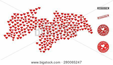 Collage Map Of Paraiba State Formed With Red Love Hearts, And Grunge Stamp Seals For Dating. Vector