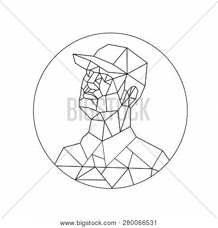 Low Polygon Style Illustration Of A Union Worker Or Tradesman Wearing A Baseball Cap Looking Up Set