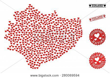 Collage Map Of Swietokrzyskie Province Composed With Red Love Hearts, And Grunge Stamp Seals For Dat