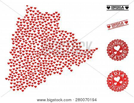Collage Map Of Telangana State Formed With Red Love Hearts, And Rubber Stamp Seals For Dating. Vecto