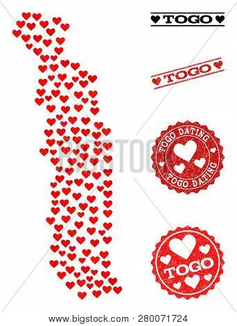Collage Map Of Togo Created With Red Love Hearts, And Grunge Watermarks For Dating. Vector Lovely Ge