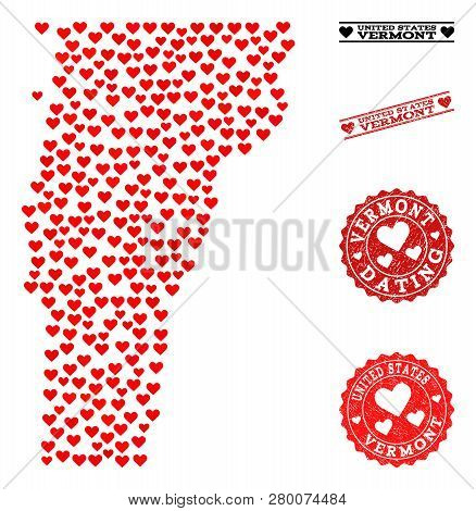 Collage Map Of Vermont State Created With Red Love Hearts, And Rubber Stamp Seals For Dating. Vector