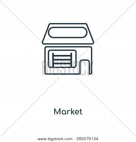 Market Icon In Trendy Design Style. Market Icon Isolated On White Background. Market Vector Icon Sim