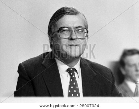 LONDON-MARCH 3: Kenneth Baker, Home Secretary and Conservative party Member of Parliament for Mole Valley, at a press conference on March 3, 1990 in London.