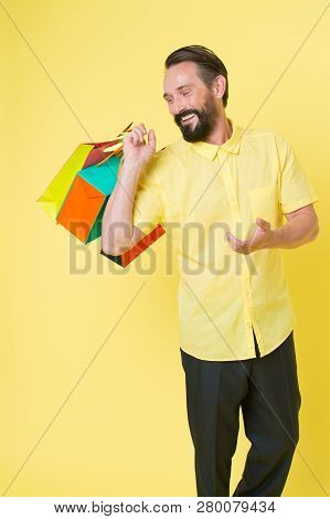 It Is Bargain. Bearded Man With Shopping Bags. Happy Holidays. Shopping. Big Sale In Shopping Mall.