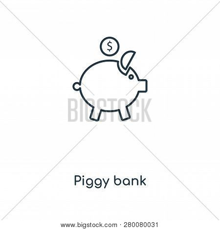Piggy Bank Icon In Trendy Design Style. Piggy Bank Icon Isolated On White Background. Piggy Bank Vec