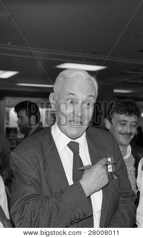 BRIGHTON, ENGLAND-OCTOBER 1: Tony Benn, Labour party Member of Parliament for Chesterfield, visits the party conference on October 1, 1991 in Brighton, Sussex.