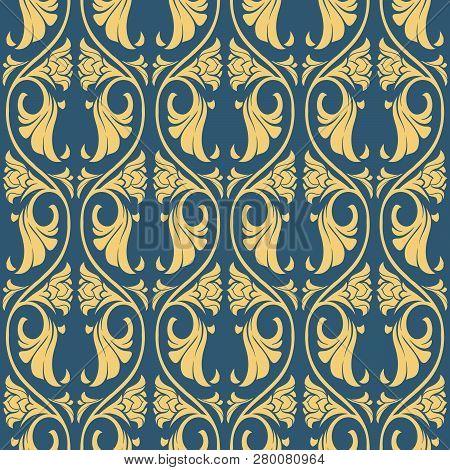 Gothic Floral Seamless Pattern. Vertical Rhythm. Popular Motiff In Medieval European Art. Element Fo