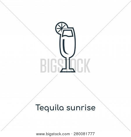 Tequila Sunrise Icon In Trendy Design Style. Tequila Sunrise Icon Isolated On White Background. Tequ