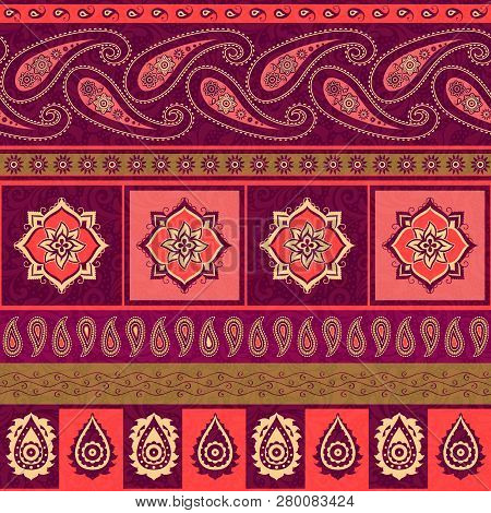 Striped Background In Indian Style, Seamless  Pattern