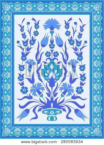 Traditional Oriental Floral Design In Blue And White