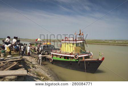Brahmaputra River, Assam, India, April 2011, Locals  On Ferry Boat For Transportation.