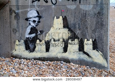ST. LEONARDS-ON-SEA, ENGLAND - AUGUST 28: A new mural by cult British street artist