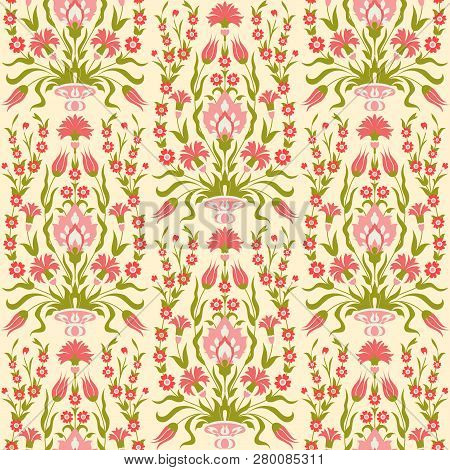 Floral Vector Seamless Pattern. Pink Flowers In Oriental Style