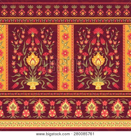 Ornate Floral Seamless Pattern In Muslim Style
