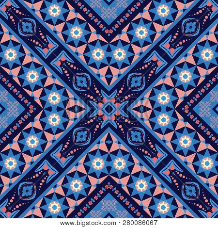 Abstract Mosaic Background, Geometric Seamless Pattern In Blue