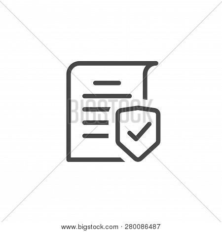 Document Protection Concept Line Art Outline, Confidential Information And Privacy Idea, Security Do